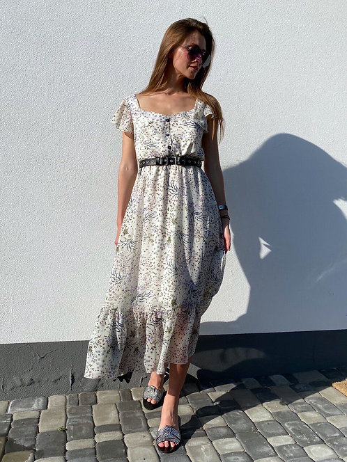 Платье миди в мелкий цветочек с рукавами фонариками фото