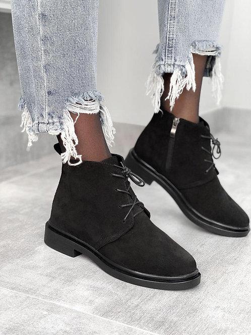 Черные низкие ботинки на шнурках натуральная замша фото
