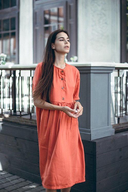 Красное хлопковое платье миди oversize с пуговицами фото