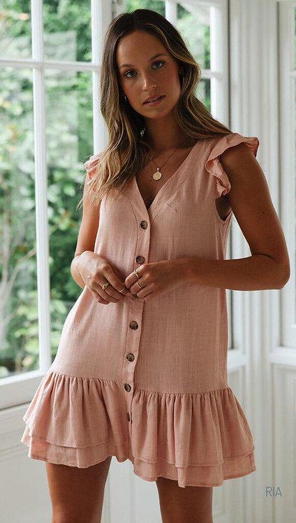 Короткое коттоновое платье с рюшами на пуговицах фото