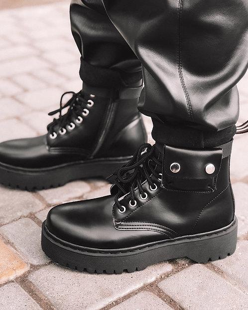 Черные ботинки на шнурках с накладным карманом Италия фото