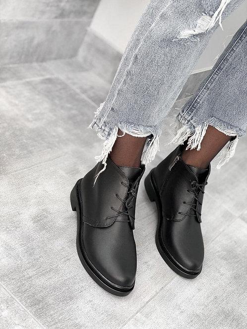 Черные низкие ботинки на шнурках натуральная кожи фото