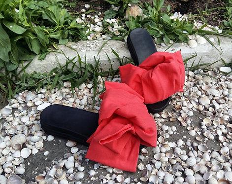 Стильные шлепанцы с бантами из хлопка на кожаной подкладке TM BONA