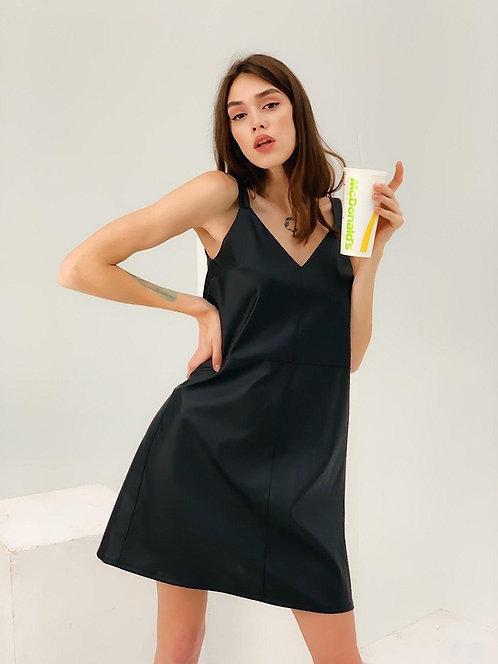 Черное кожаное платье комбинация фото
