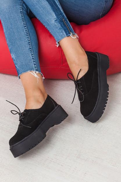 Натуральные черные замшевые туфли броги на платформе TM BONA