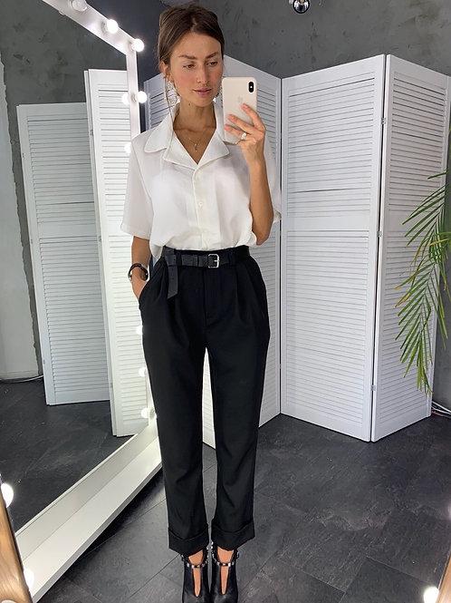 Черные прямые брюки высокой посадки фото