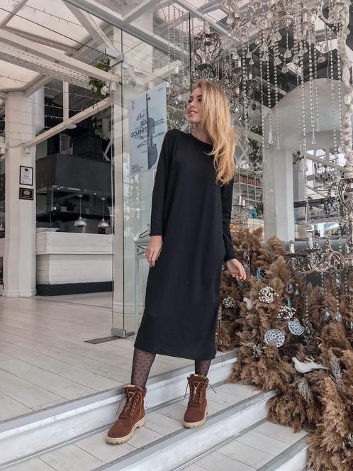 купить черное вязаное платье миди недорого украина