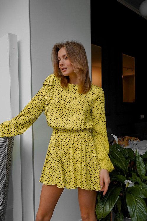 Желтый комбинезон комбишорты в принт с длинным рукавом фото