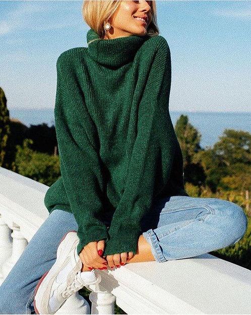 Изумрудный свитер oversize с высоким горлом фото