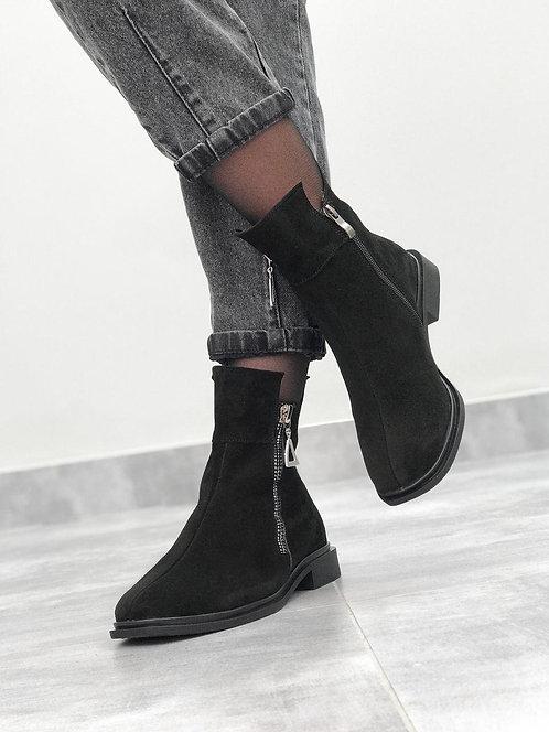 Зимние замшевые ботинки с молнией фото