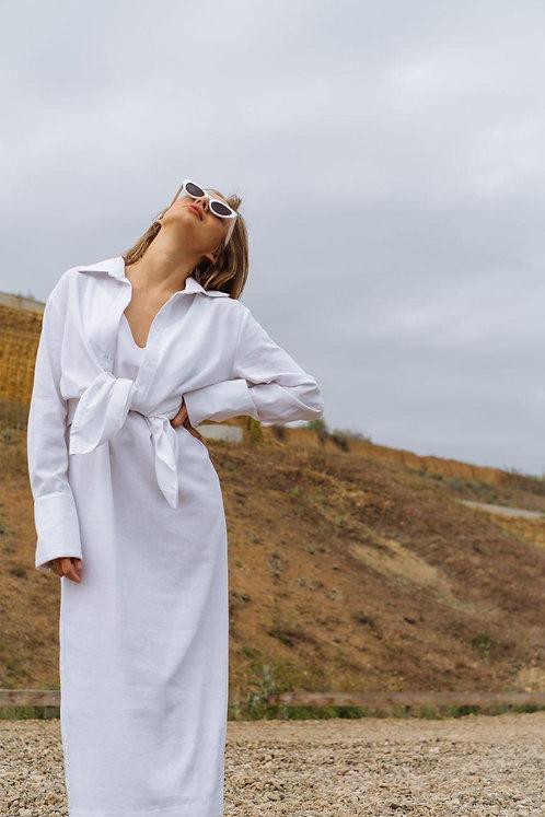 Белый комплект платье комбинация и рубашка TM ZEFFIR