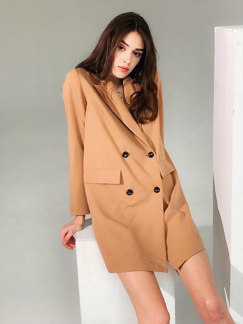 Песочное короткое платье-пиджак TM ZEFFIR