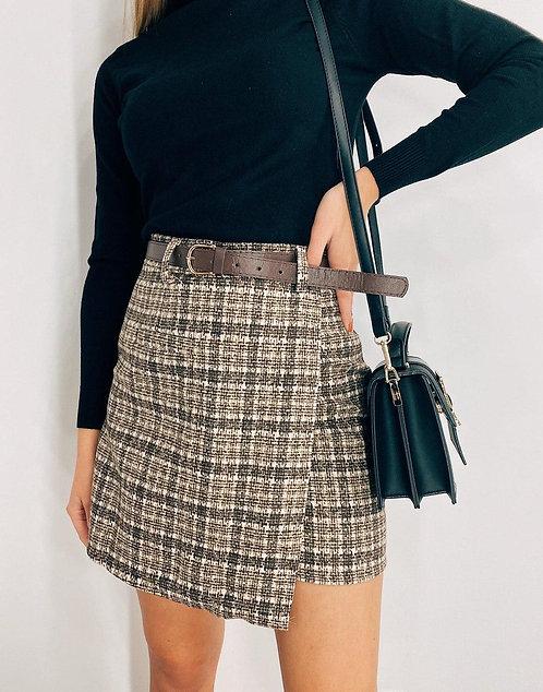 Теплая мини юбка букле в клетку фото