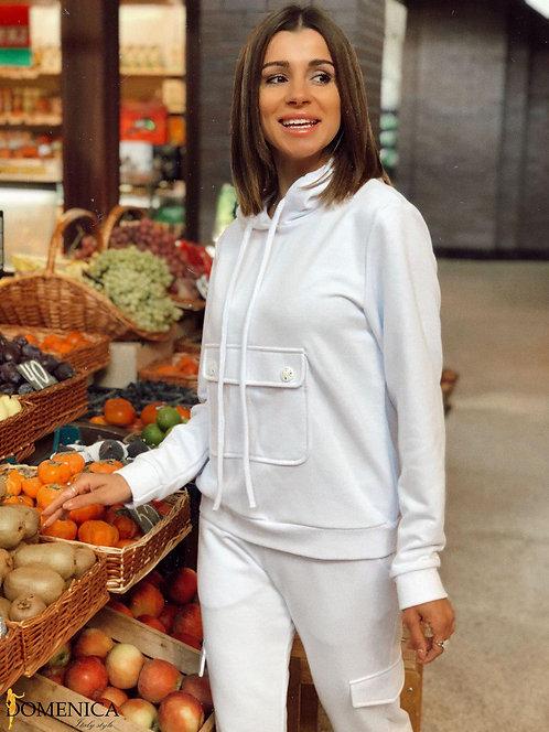 Белый спортивный костюм с накладным карманом фото