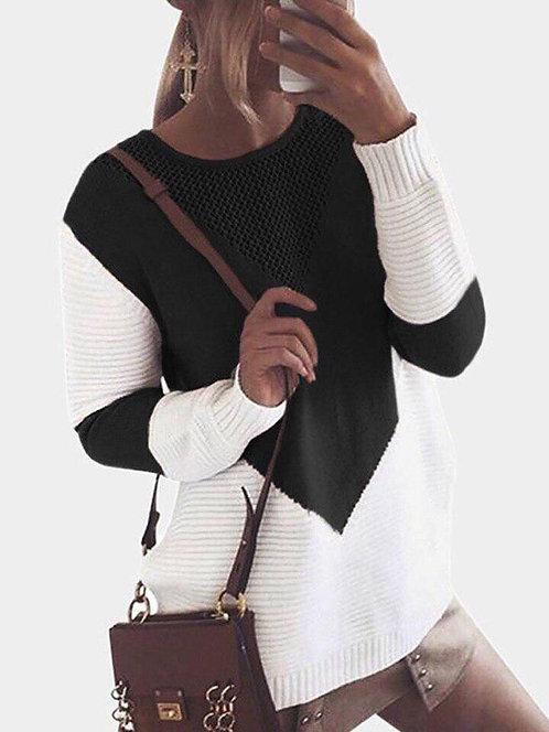Удлиненный черно-белый свитер color block