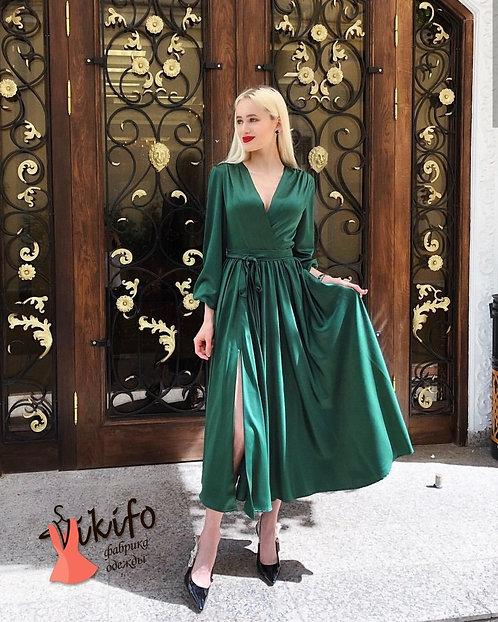 Элегантное шелковое платье миди фото