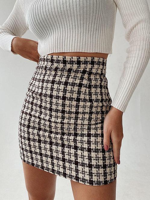 Твидовая мини юбка в гусиную лапку фото