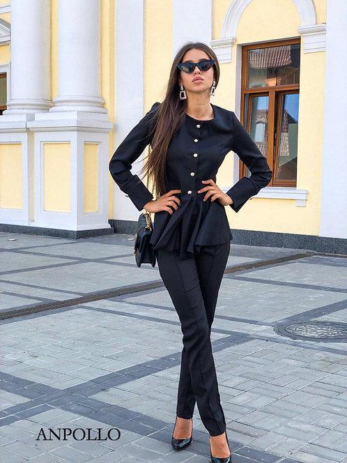 женский брючный костюм с кофтой с баской фото