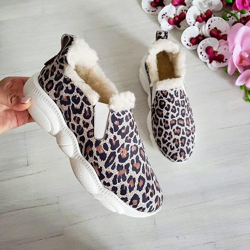 Леопардовые пудровые натуральные слипоны Teddy
