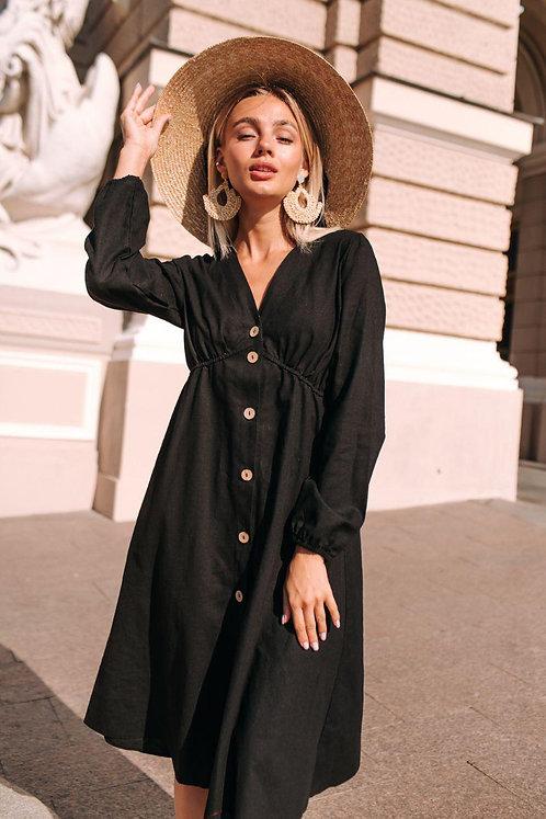 Черное платье миди на пуговицах из плотного льна фото