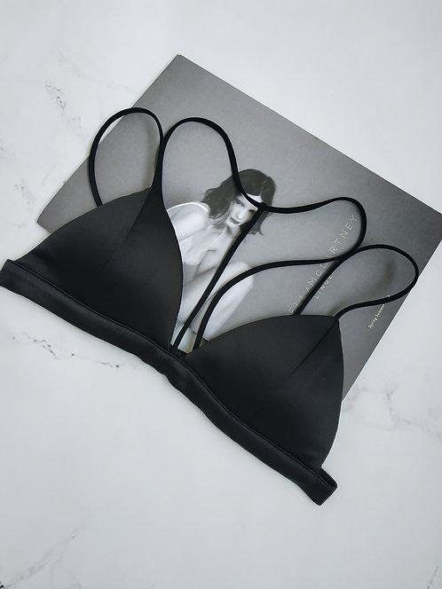 Черный атласный бюстгальтер браллет со шлейками и чокером фото