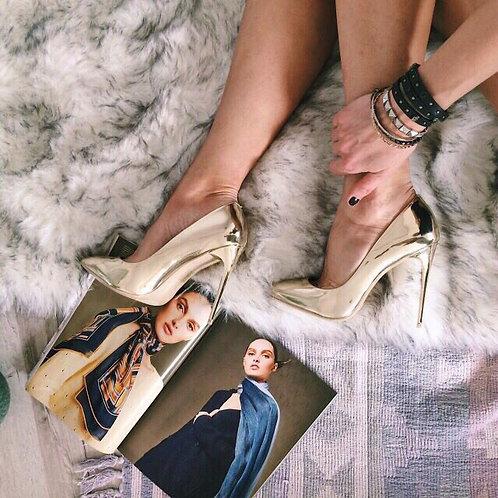 Золотые зеркальные туфли лодочки на шпильках Италия фото