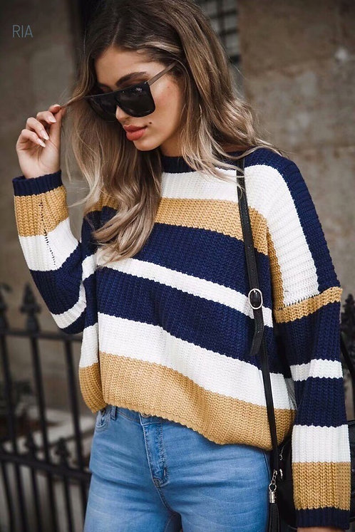 Укороченный свитер оверсайз в бежево-синюю полоску фото