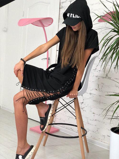Платье миди с капюшоном и шнуровкой фото