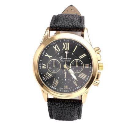 Черные часы Geneva с золотым оформлением фото
