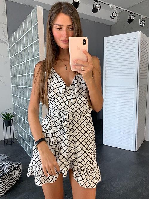 Шифоновое платье мини на запах в клетку фото