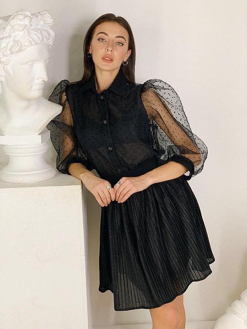 Черная короткая юбка плиссе с блеском фото