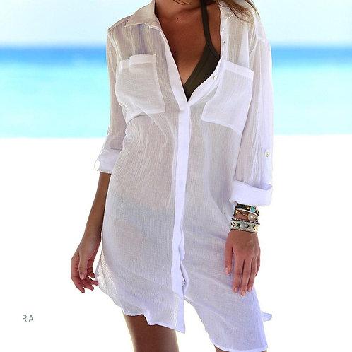 Белая пляжная туника рубашка из креп-шифона фото