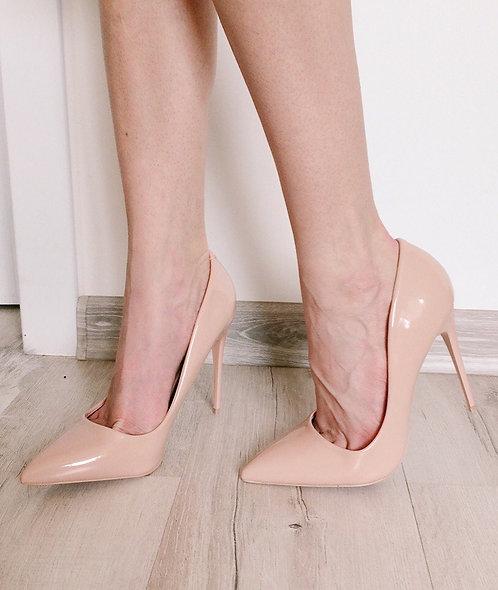 Нюдовые лаковые туфли лодочки на шпильках Италия фото