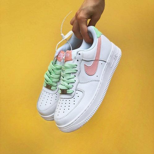 Белые кроссовки Nike Air Force 1 Pink\Mint фото