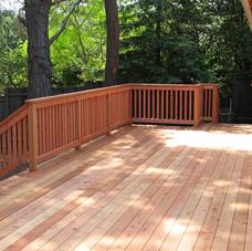 Redwood railing on a wooden deck