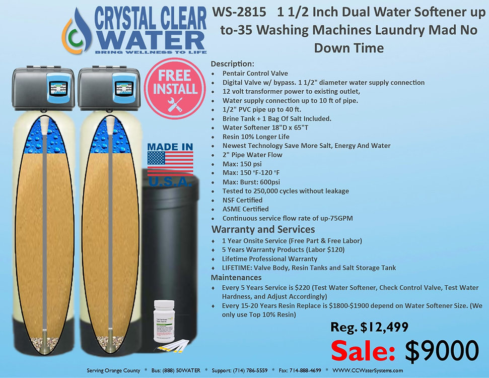 WS-2815 1 1.25 Inch Dual Water Softener