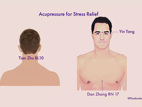 There are six acupressure points that can be used to relieve stress
