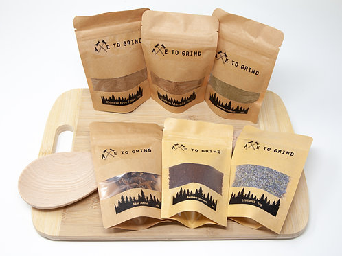 Exotic Spice Gift Pack with Cutting Board and Wooden Spoon - Axe to Grind