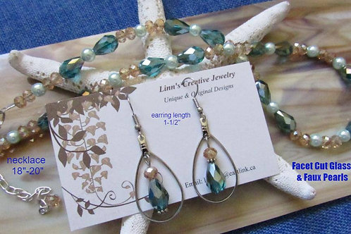 Original Design Earrings and Necklace Set (Greens) - Linn's Creative Jewelry