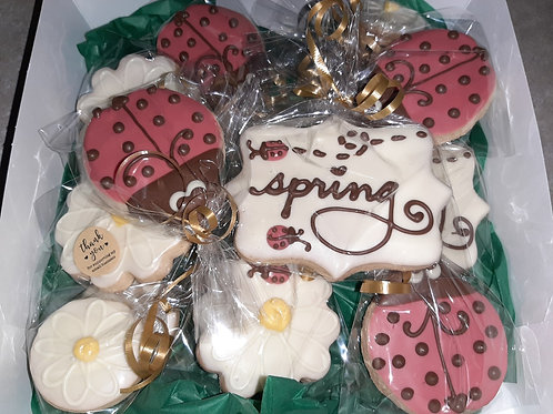 chocolate dipped decorated shortbread- spring themed - Karyn's Cookies