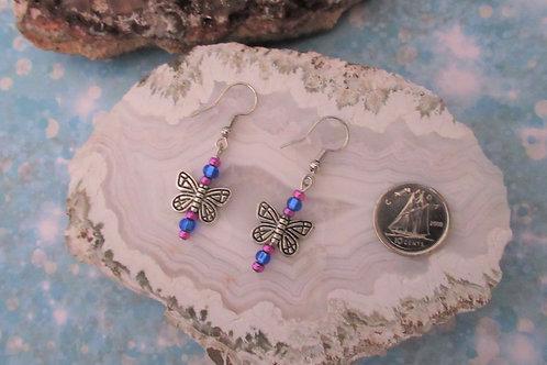 Blue/Purple Butterflies Earrings - Linn's Creative Jewelry