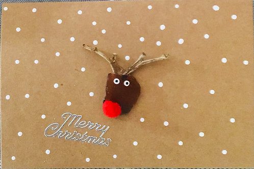 4x6 Authentic NS Sea Glass Christmas Card (Reindeer) - Nature's Best Rocks