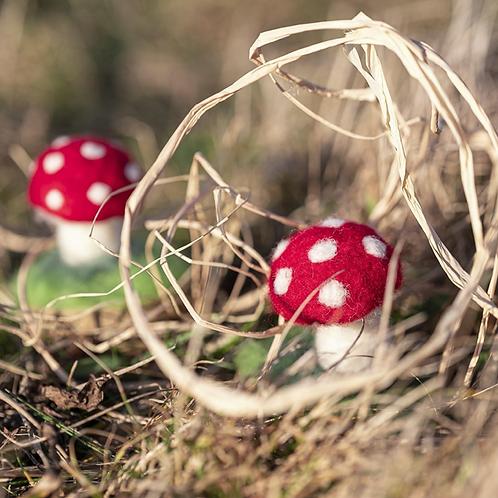 Felted Christmas Ornament (Small Mushroom 2pk) - Magic of Wool