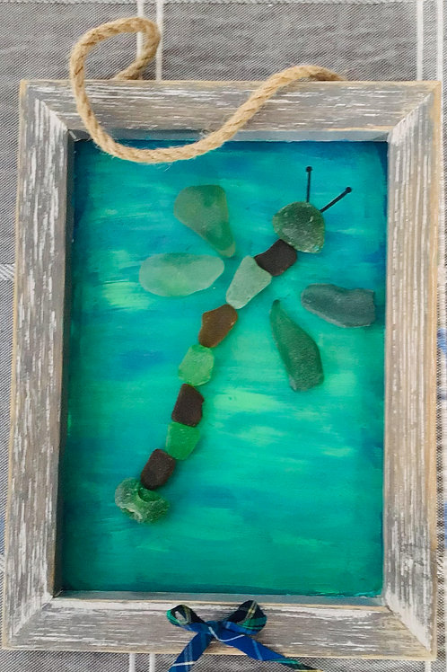 5x7 framed pictures made from NS sea glass (Dragonfly) - Nature's Best Rocks