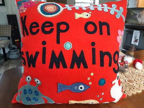 """Keep on Swimming"" Pillow - Meraki Designs"