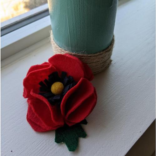 Felted Poppy Brooch  - Magic of Wool