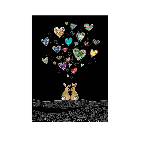 Greeting Card - Blank - TWO RABBITS IN LOVE (5″ X 7″) - Elements By Drala