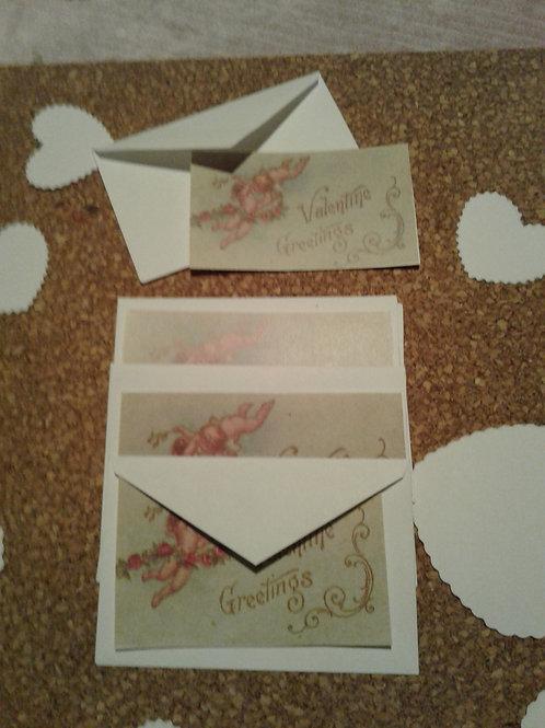 Tiny Vintage Valentine Card with Envelope- Yodi Originals
