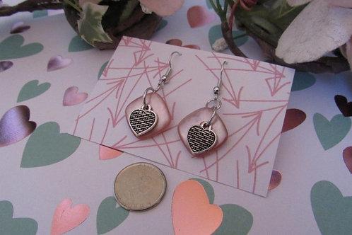 CUTE AS A BUTTON Earrings (Soft Pink Button Heart)  - Linn's Creative Jewelr