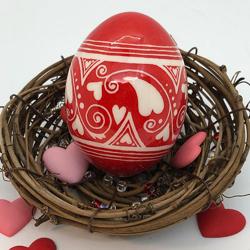 Valentine's Day Pysanka 1 – Red/ White Heart Fuzion - Myrosia Painting and Pysan